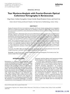 Tear Film Meniscus Analysis, OCT, Keratoconus