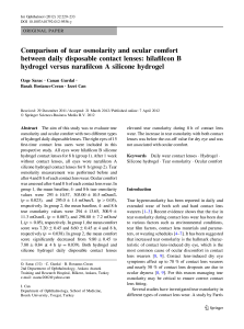 Tear Osmolarity Ocular Comfort and Daily Contact Lenses